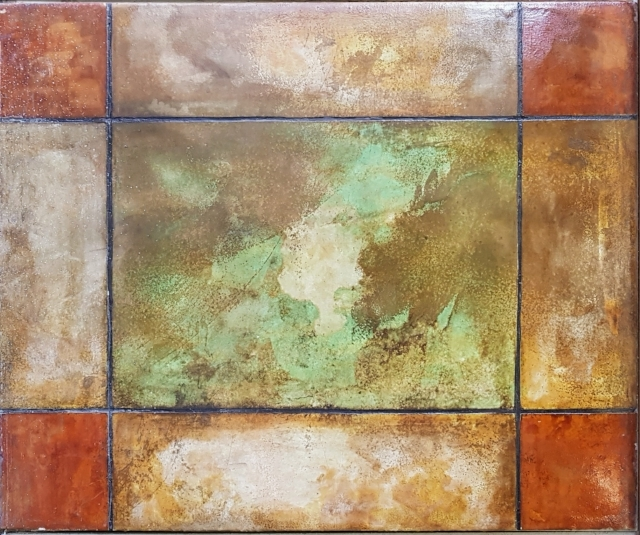 Patina acid Stain - An example of Patina Concrete Acid Stain sprayed onto concrete board and mounted vertically. Patina Acid stain colours the underlying concrete substrate - allowing for beautiful patterns as shown here.