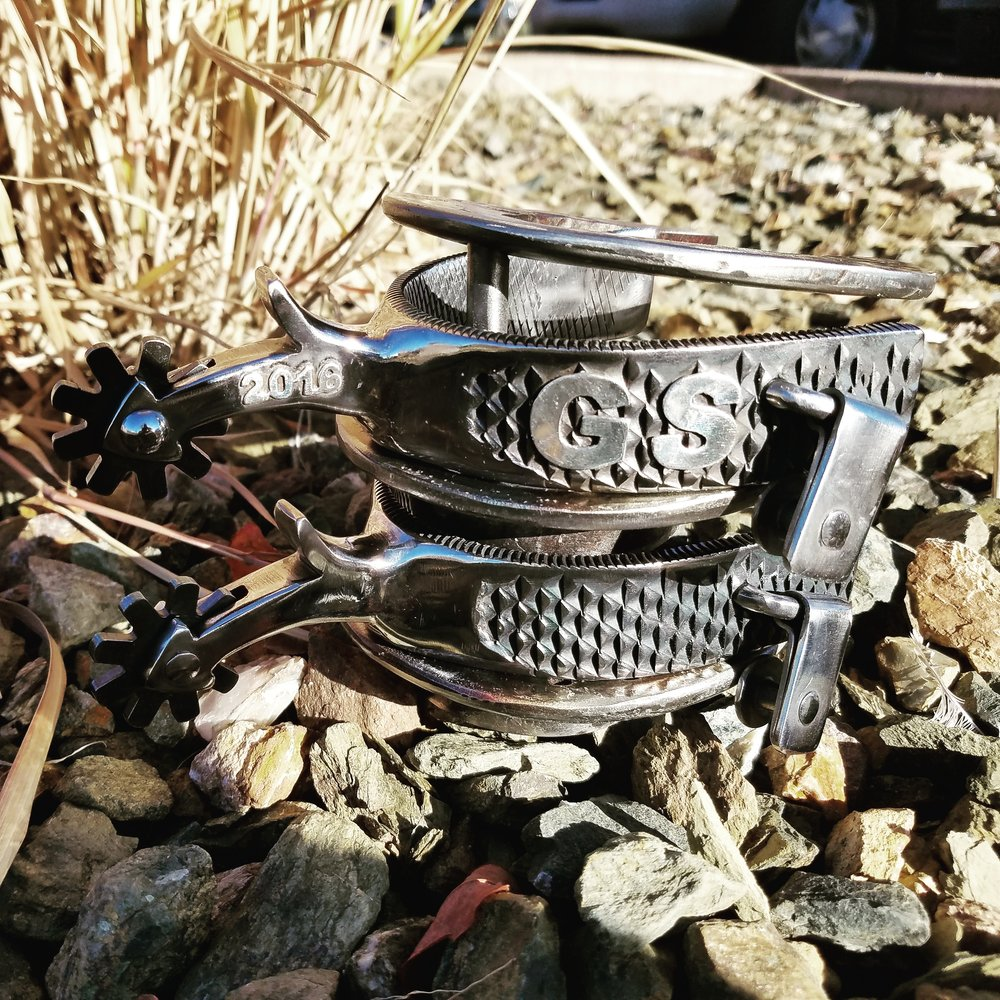 Custom rasp spurs in honor of the 2016 Georgie Sicking Award, presented by the Western Music Association