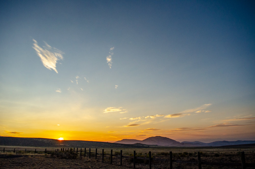 Sunrise over the Steens Mountains, south Harney County, Oregon.