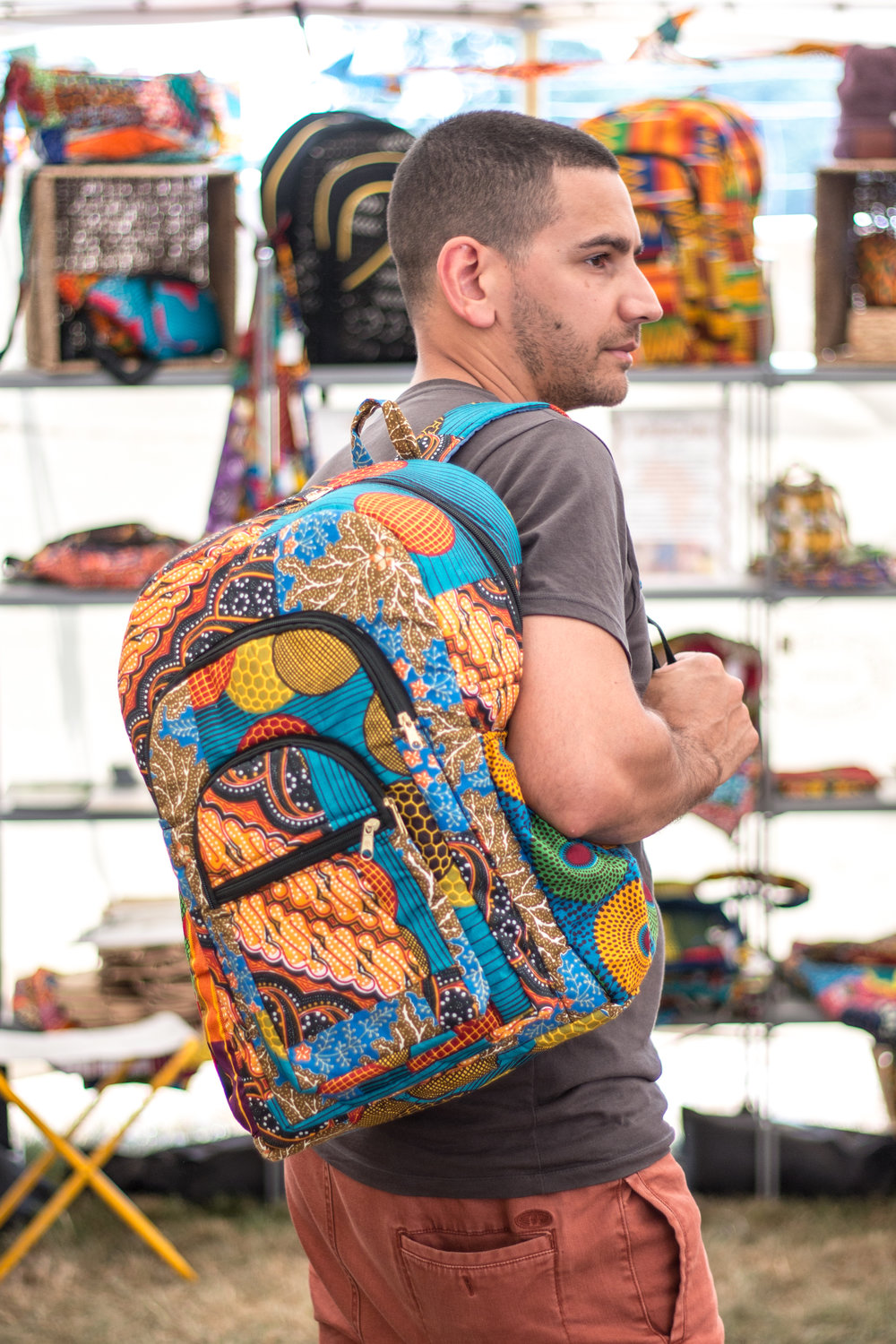 Ghanaian fabric backpack by Kobina in Cape Coast, Ghana