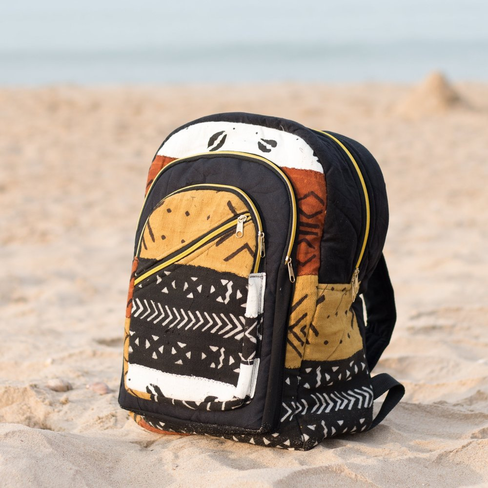 Mud cloth backpack from Kobina