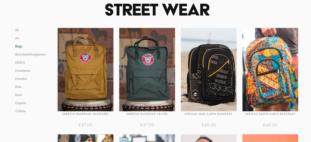 Our African products can be found alongside our other items in the Street Wear store.