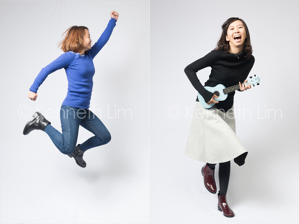 corporate-headshot-Facebook-Hong-Kong-girl-jumping-sideways-mid-air-girl-playing-ukulele-laughing