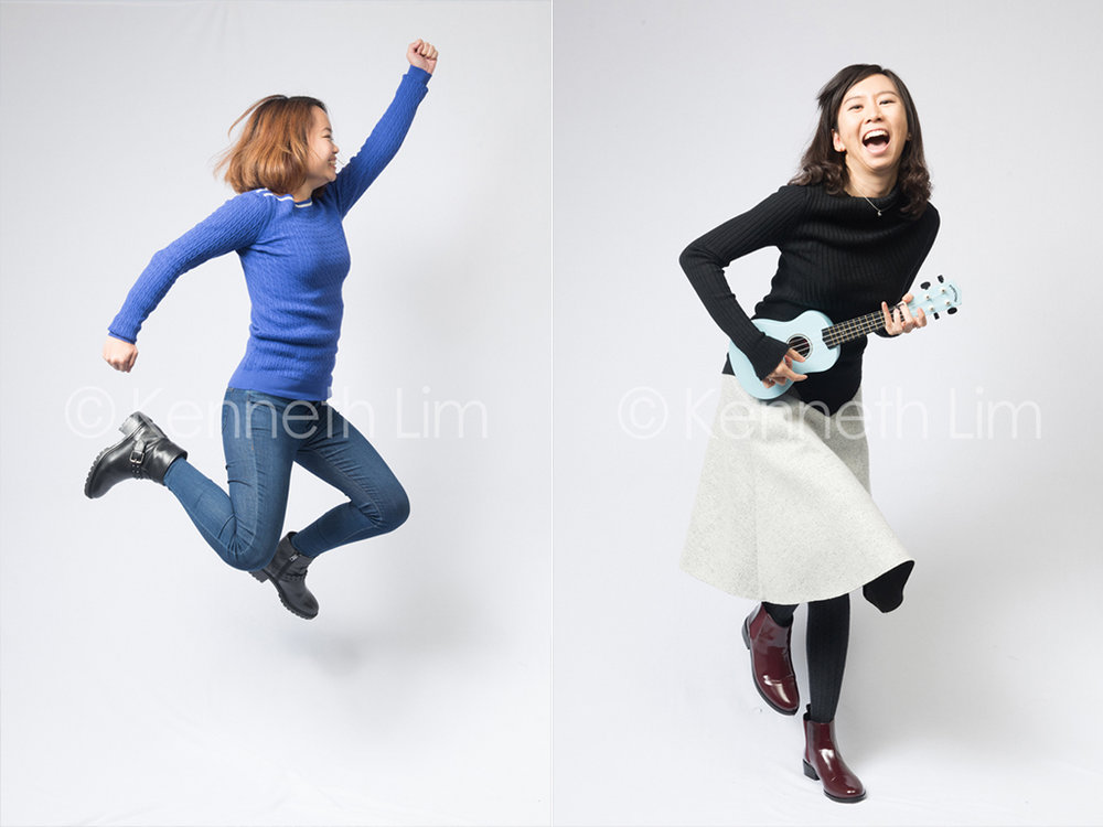 corporate-headshot-Facebook-Hong-Kong-girl-jumping-sideways-mid-air-girl-playing-ukulele-laughing