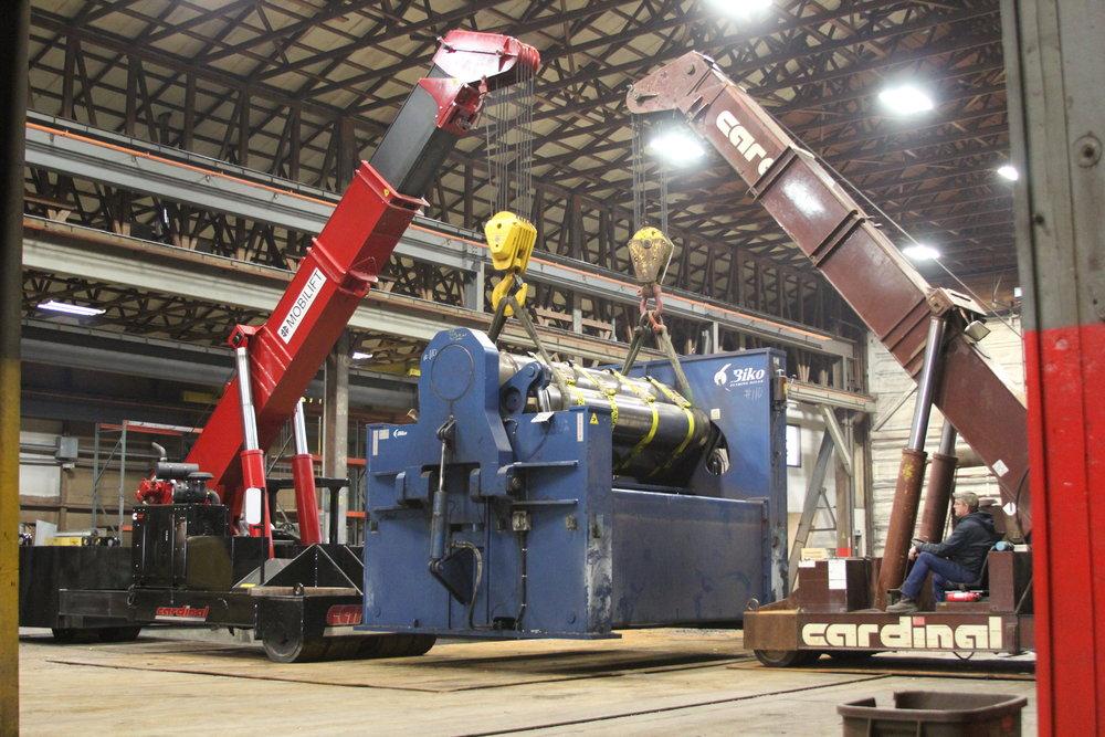 Two Mobilift Cranes Lift 80,000lb Roller