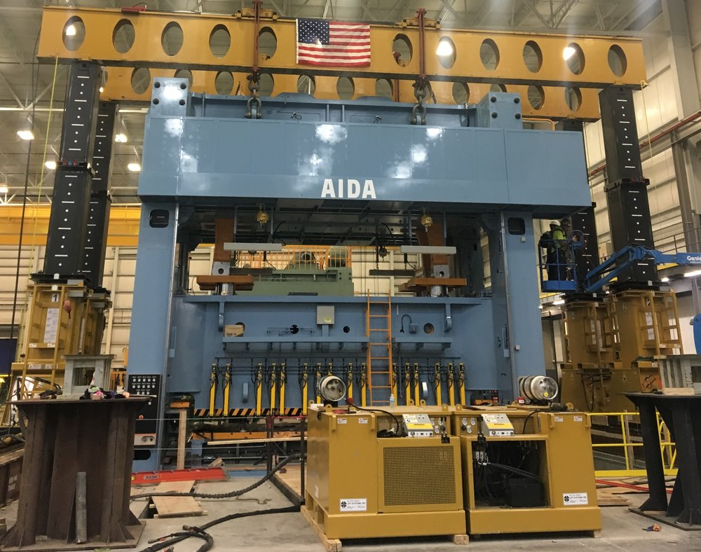 Lift Systems Gantry lifts 200-ton crown onto press