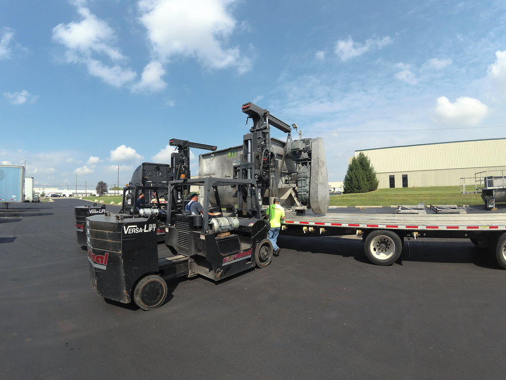 RTP, 9/6/18Mixer Relocation - Cardinal helped RTP disassemble and remove two 20,000 lb. mixers in Indianapolis for transport to Wisconsin.
