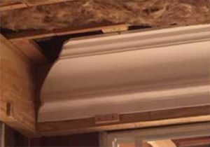 STEP 1. Install gypsum crown moulding flange ceiling and wall straight corner-to-corner