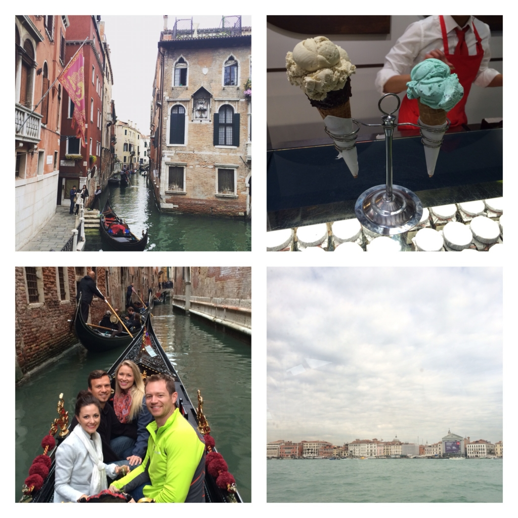 "Canal view near our Venetian apartment // #gelatoeveryday // a Venice ""must"" - gondola ride with great friends! // our departure from Venice"