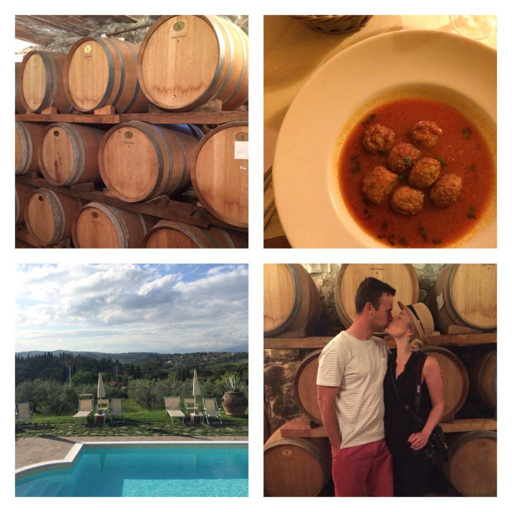 Wine tour on the property we stayed at in Chianti, Tuscany // homemade meatballs...enough said. // the view from our little apartment in Chianti, Tuscany // barrel room kisses! this room was 100+ years old and used to be for curing meats