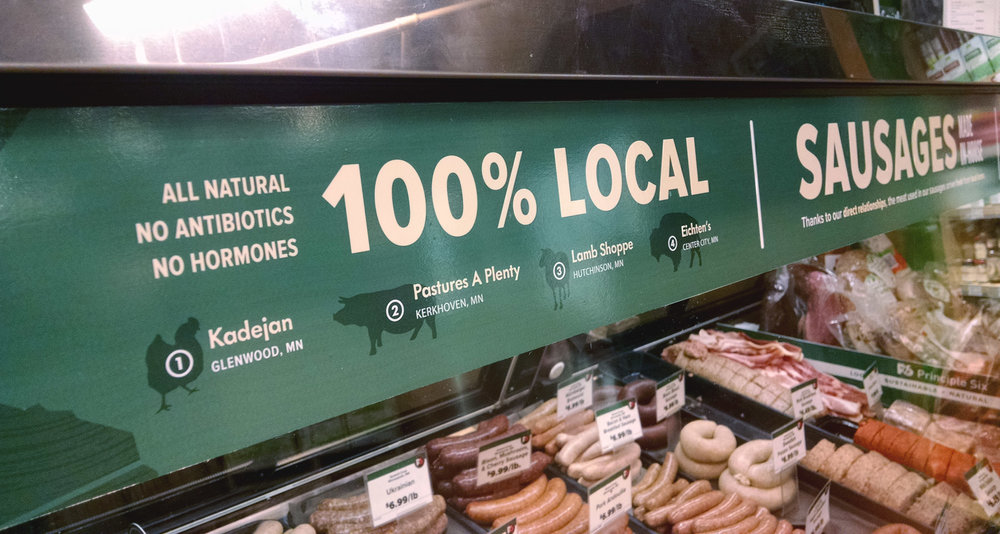 Designed, illustrated, printed and installed local meats display header.