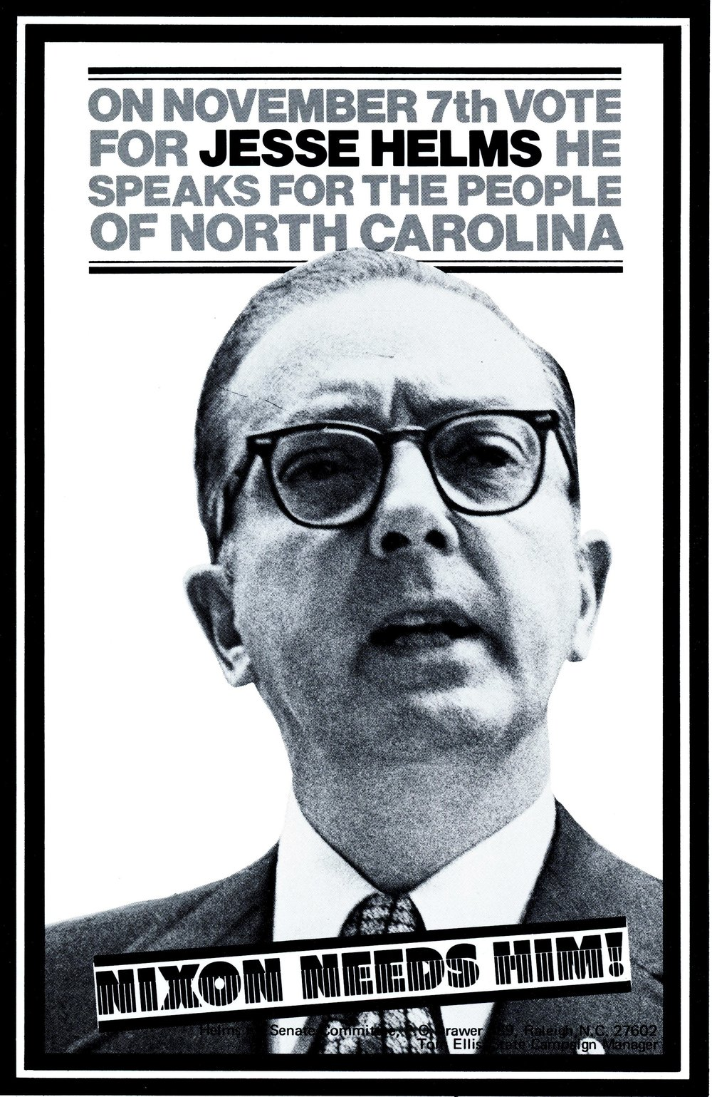 One of the campaign flyers from Jesse Helms' 1972 Senate race.