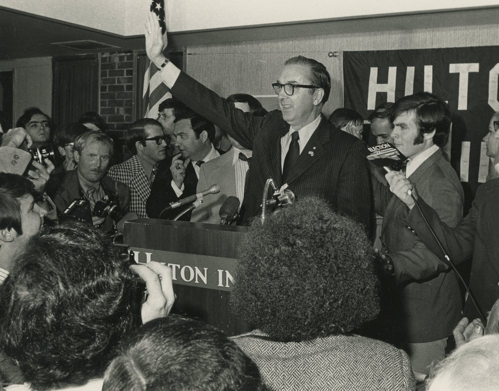 Newly elected Senator Jesse Helms delivering his victory speech on November 7, 1972.