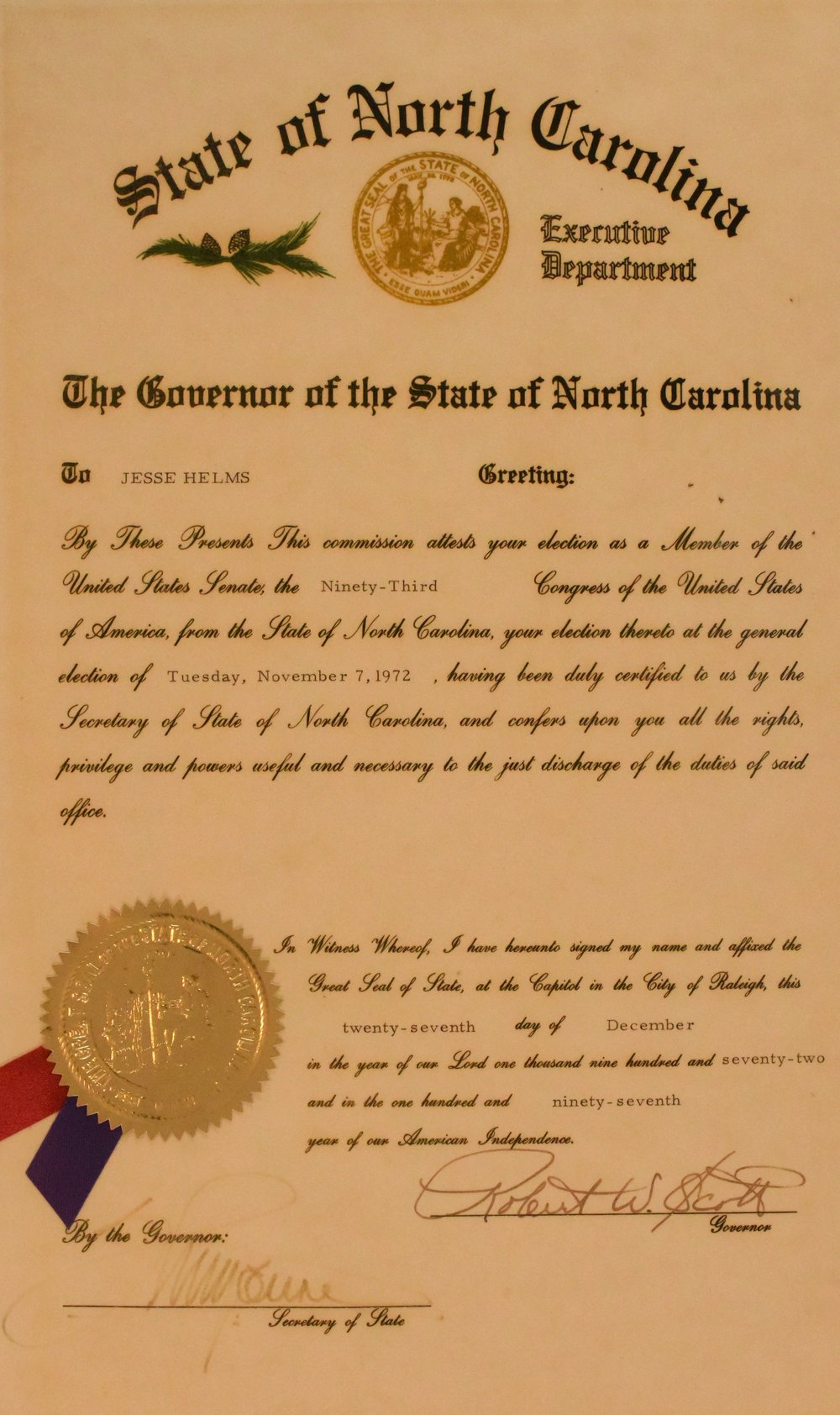 Governor Robert W. Scott signed the form that certified Jesse Helms was elected to the United States Senate on November 7, 1972.