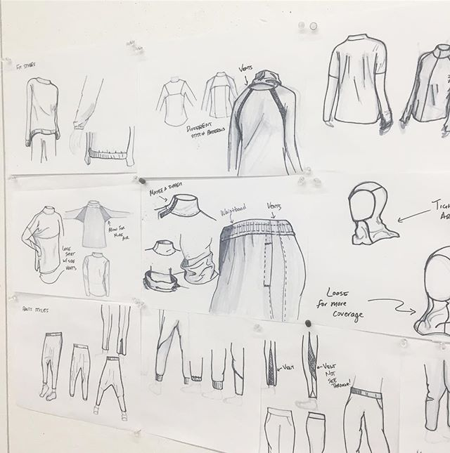 I had put some sketches up for a process shot of my modest sportswear design project for Muslim women. Thought I'd post them here too!