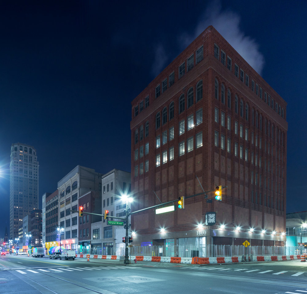 The Shinola Hotel project in downtown Detroit, Michigan takes shape as site work begins across four historic buildings that will one day encompass the hotel.