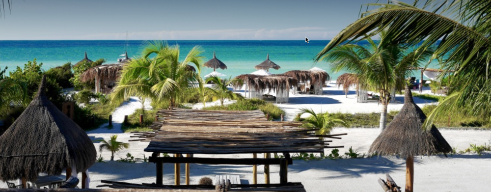 View of the beach from Ser Casasandra Hotel, Isla Holbox, Mexico