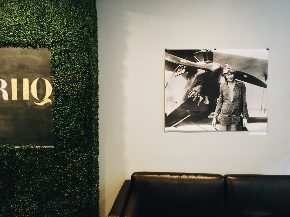 Photograph of the great Amelia Earhart on the wall of the lounge at Voyager HQ.