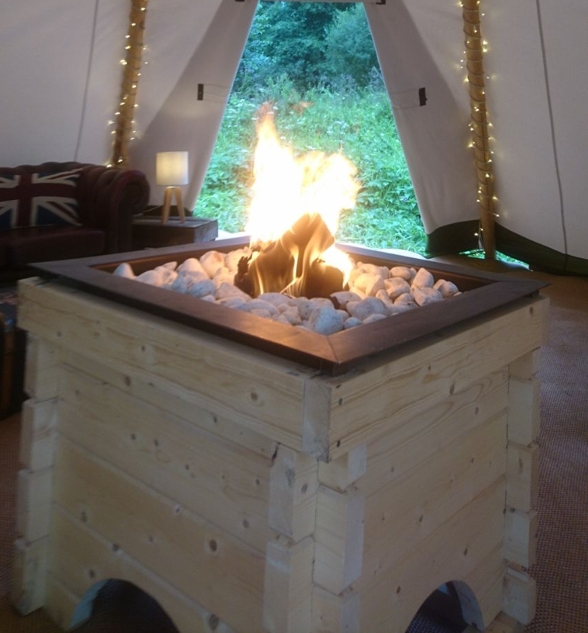 WOODEN FIRE PIT    Nordic solid wooden indoor fire pit $400