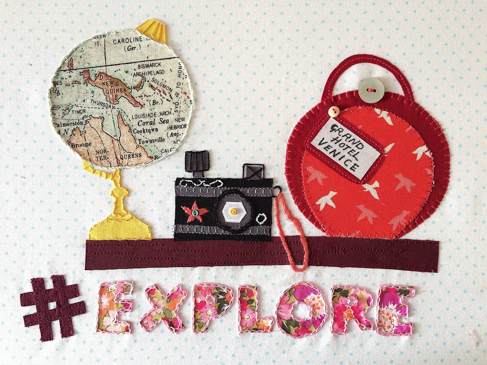 Hashtag Explore Embroidery Pattern