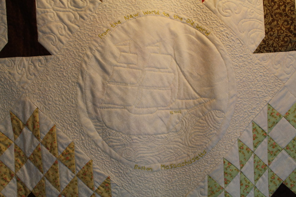 hand quilted sailing ship