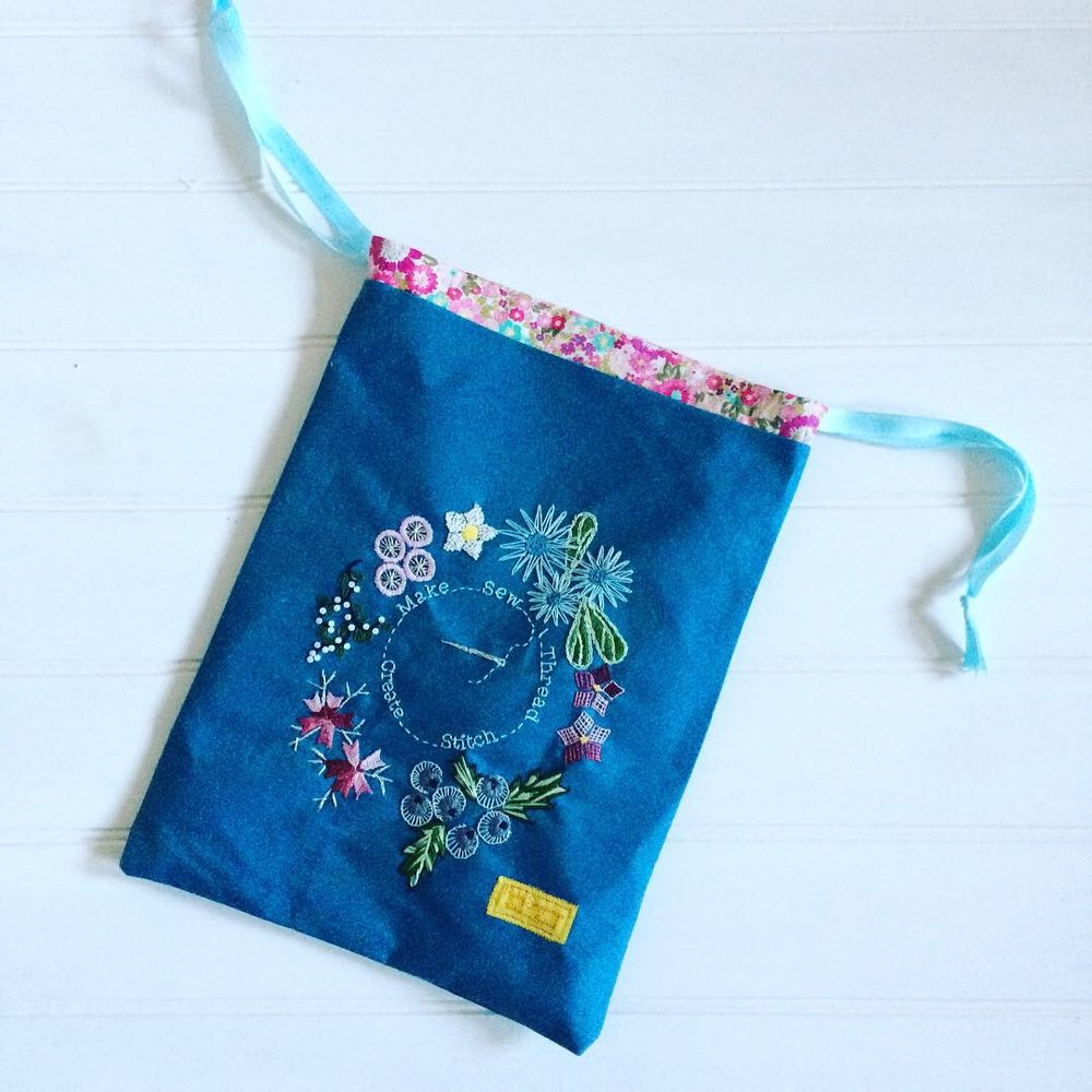 Embroidered project bag