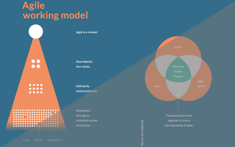 Agile, A Working Model - The image (featured in the guide) representing the breakdown of what defines