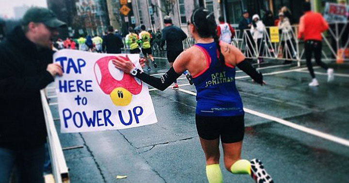 (not me in this picture, just a random google image search of 'power up marathon sign')