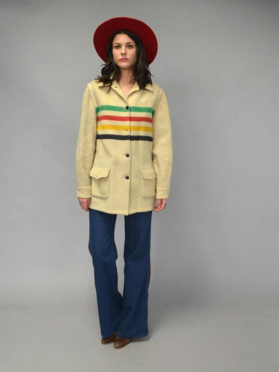 1960s HUDSONS BAY striped wool blanket coat -