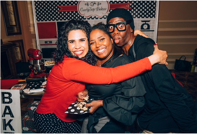 CurlyTop Baker snuggles with Shar Jackson & Miss J. Alexander