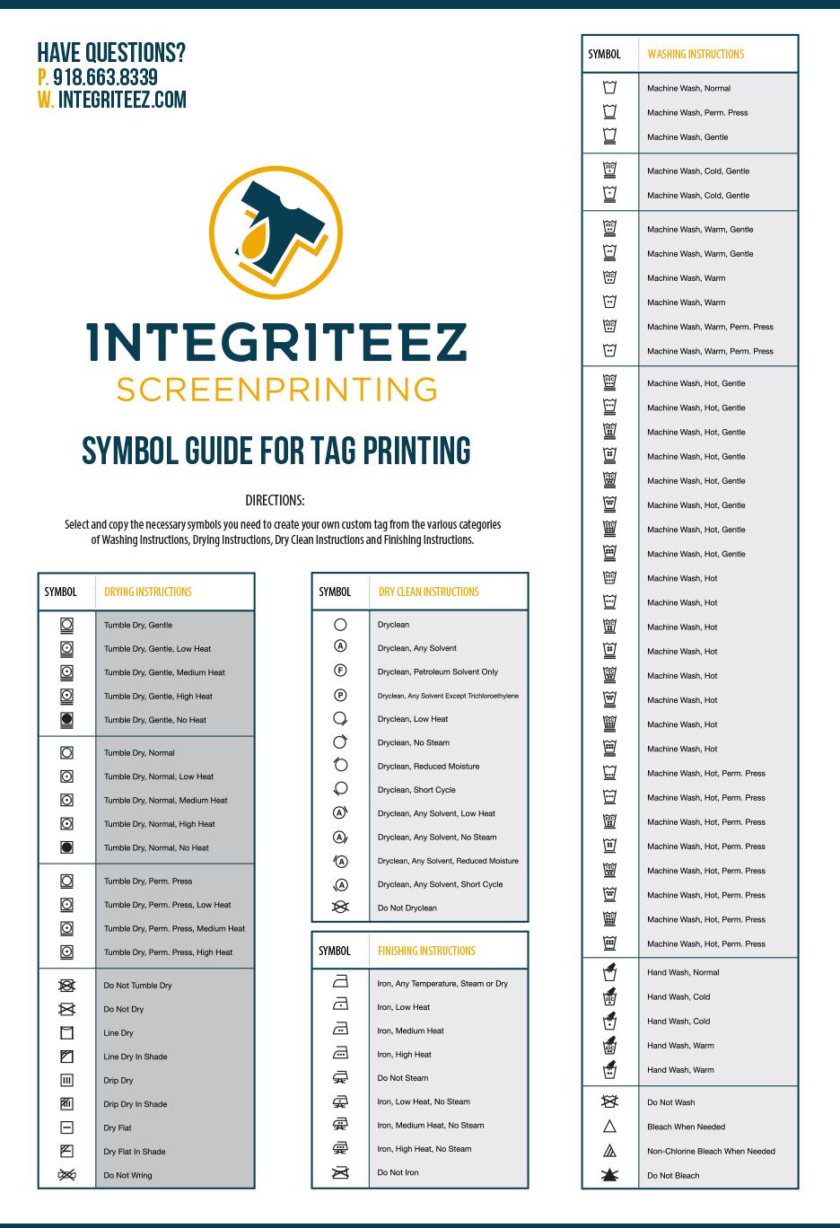 Care Instruction Icons Integriteez