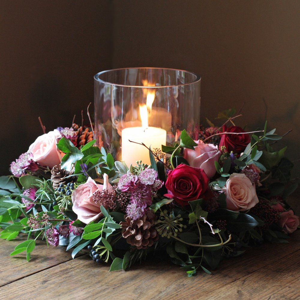 Table Centre Roses Candle Rustic