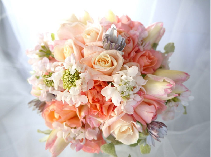 April Bridal Bouquet Roses Lathyrus Sweet Pea Tulips