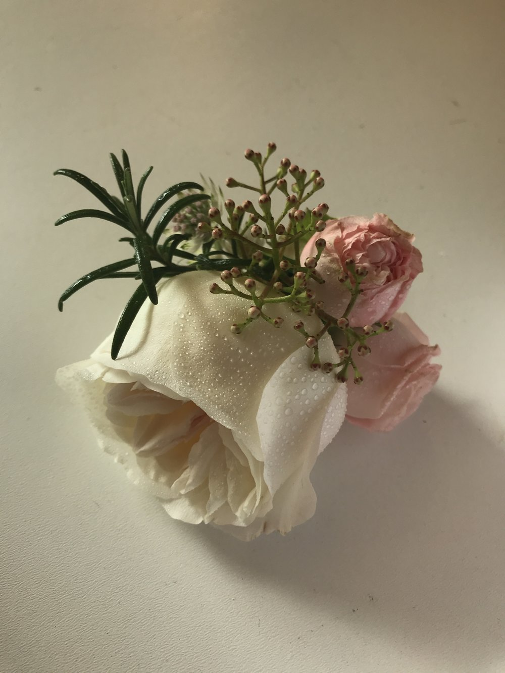 David Austin Keira Rose, Bombastic & Rosemary made up this stunning buttonhole.