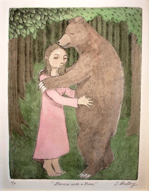 Dance with a Bear  dry point   etching with watercolor 11 x 14""
