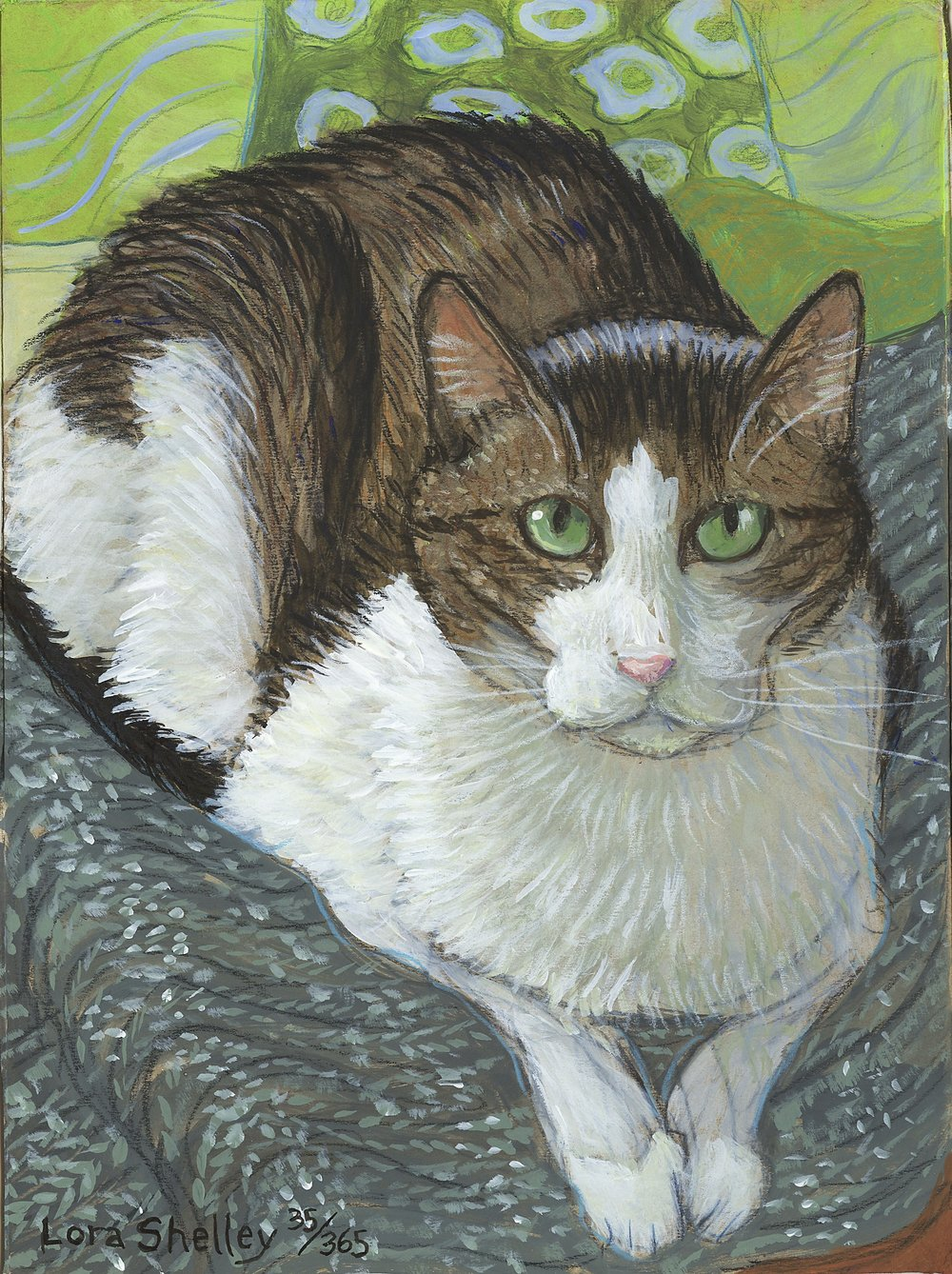 """Mixed media. Part of 365 days of painting Charley. Yearlong project -- one painting a day of Artist's cat as a studio practice and meditation study.  Approx. 11 x 14"""""""