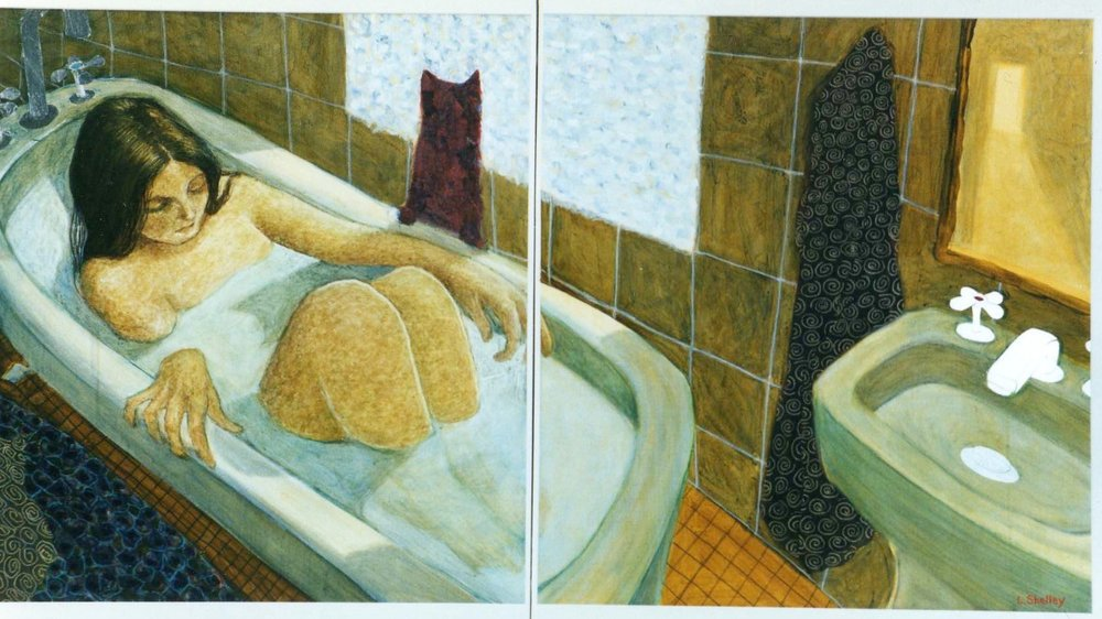Bath with Two Cats  - diptych mixed media © Lora Shelley - sold