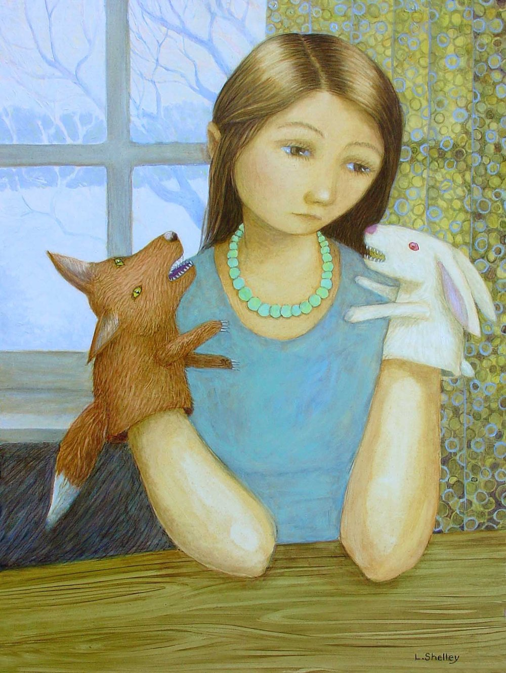 Girl with Fox and Rabbit Puppet -sold