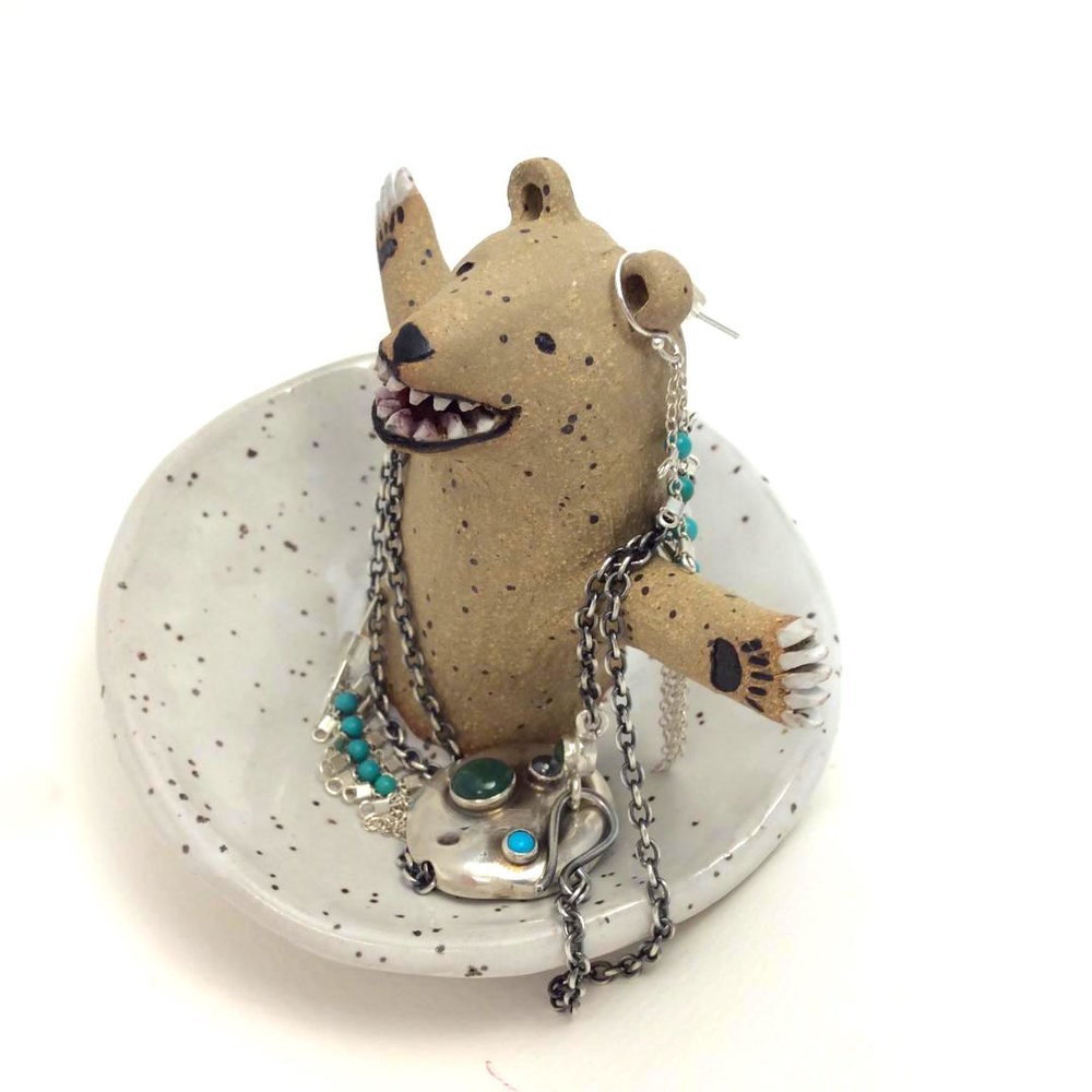 Bear Jewelry Dish -   stoneware one of a kind