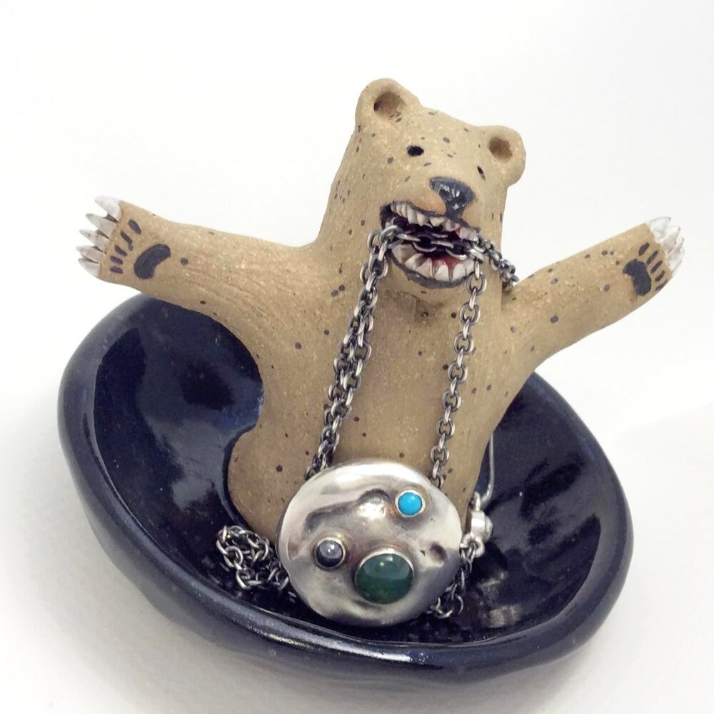 Bear on Black Jewelry Dish