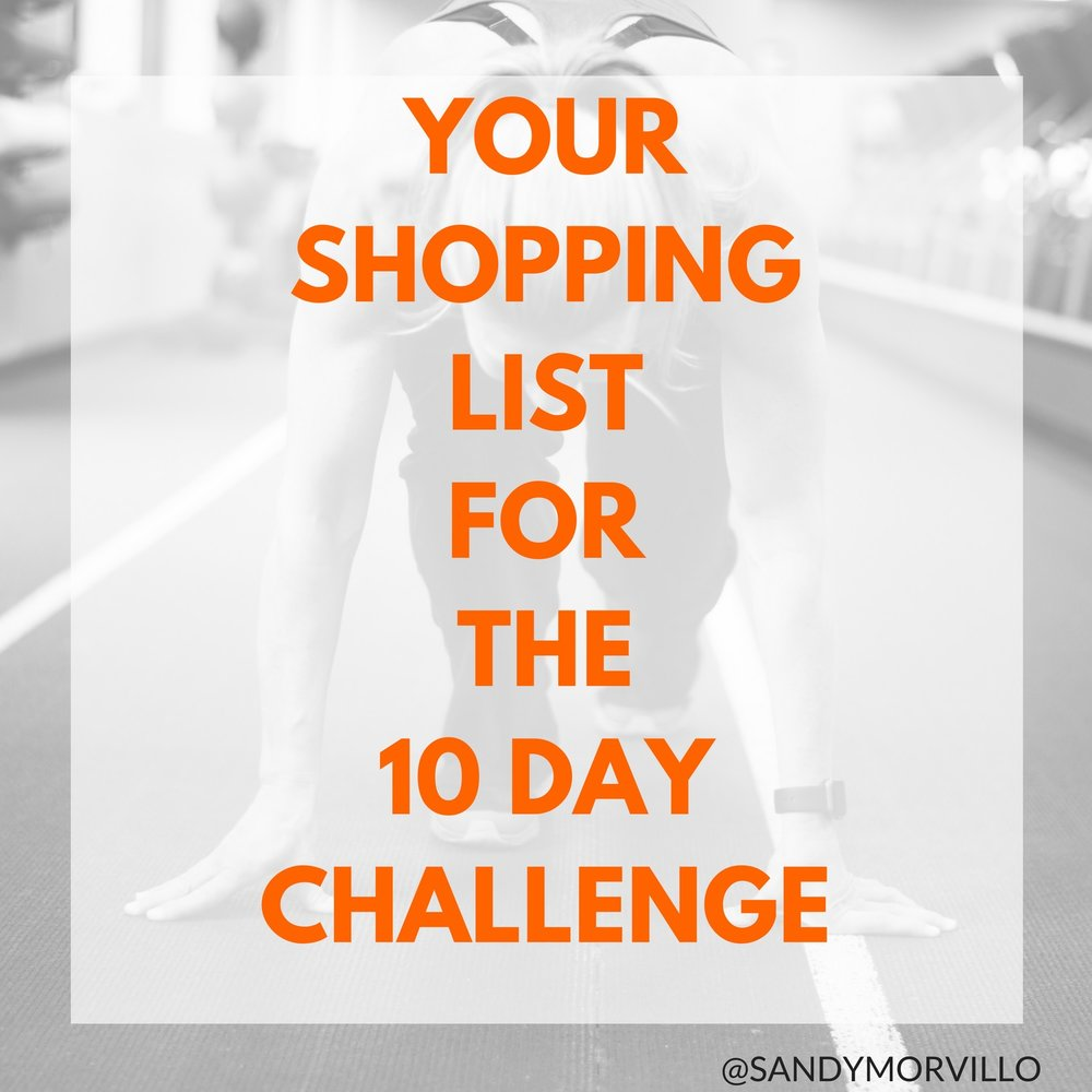 10 Day Health and Fitness Challenge - Your Shopping List!