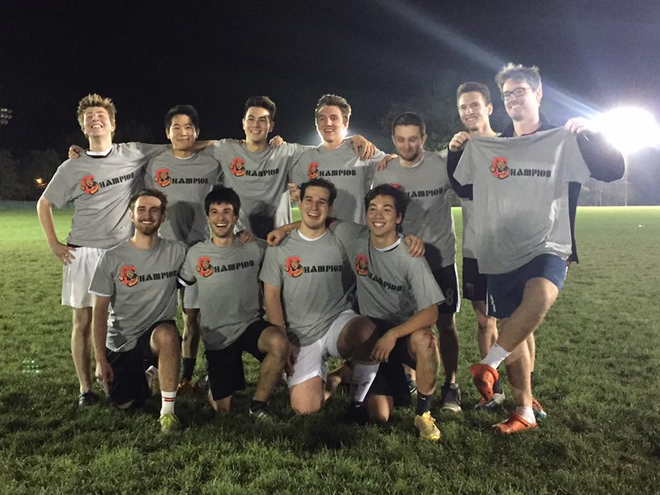 Brothers celebrating after winning Cornell's Intramural Soccer tournament