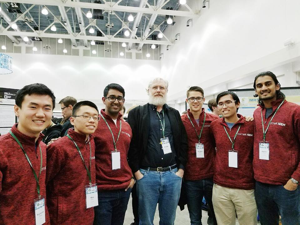 Brother Ashwin (right) with his Cornell iGEM  is an award-winning synthetic biology research team