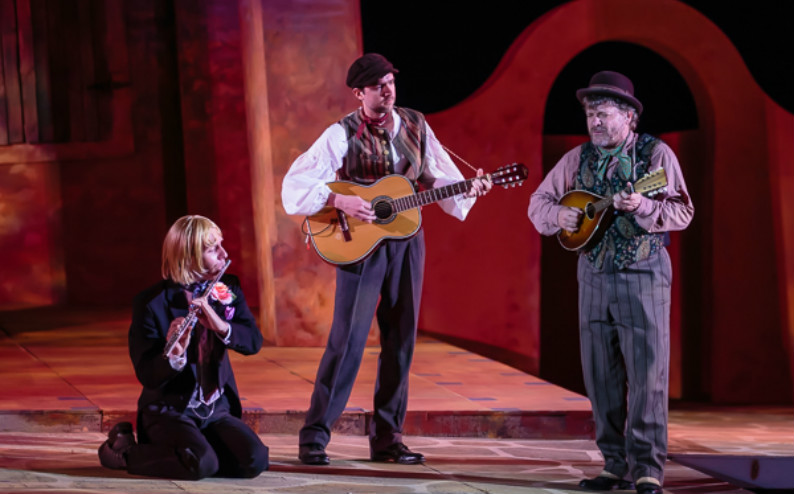 "playin' music with brian seyle and andy paterson in sfstl's ""twelfth night,"" 2013. 