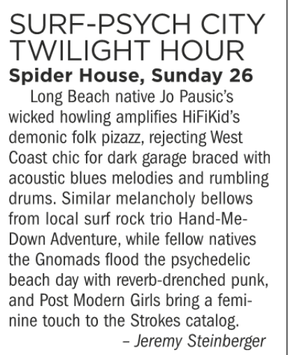 Surf-Psych City Twilight Hour, Spider House, Sunday 26