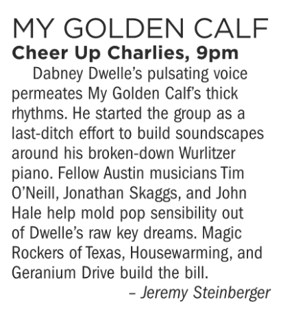 My Golden Calf, Cheer Up Charlie's, Tuesday September 11