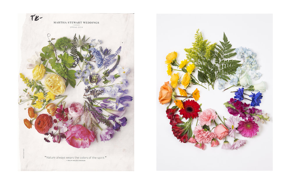 Advertisement (Left): Martha Stewart Weddings - Spring 2014 | My Photograph (Right)