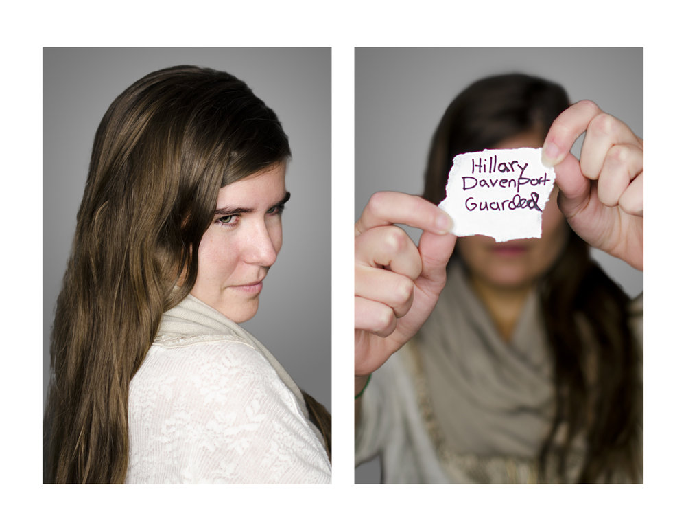 Up Close and Personal is about self-reflection.  I asked each person to write down a word they would use to describe themselves, then they had to portray that word in their portrait.  The first photograph is them portraying their word, then the second photograph is the piece of paper with their name and word written on it.
