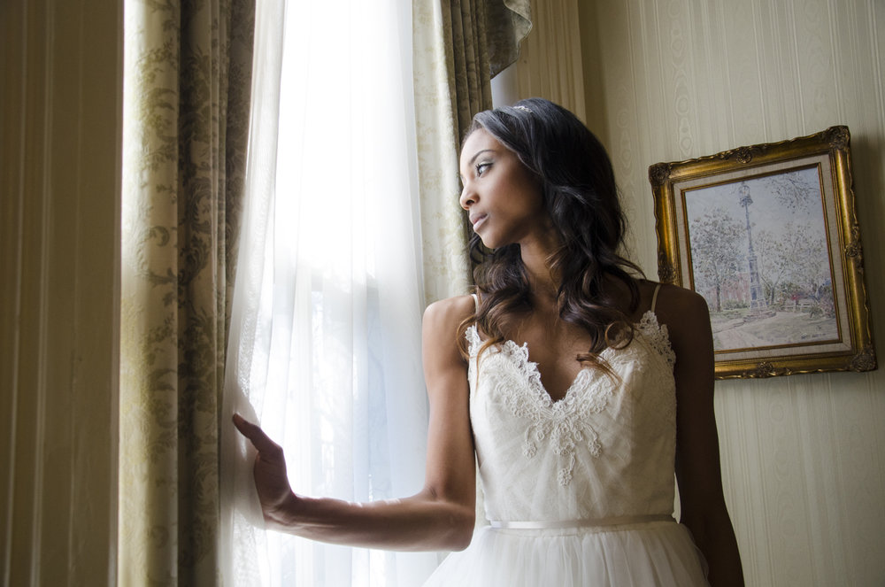 "Model: Maiya-Simone Plather Hair and Makeup: Aly Barnett  Dress: ""Blakeley"" by Alvina Valenta Dress from: Ivory and Beau Location: Brockington Hall - Savannah, GA"