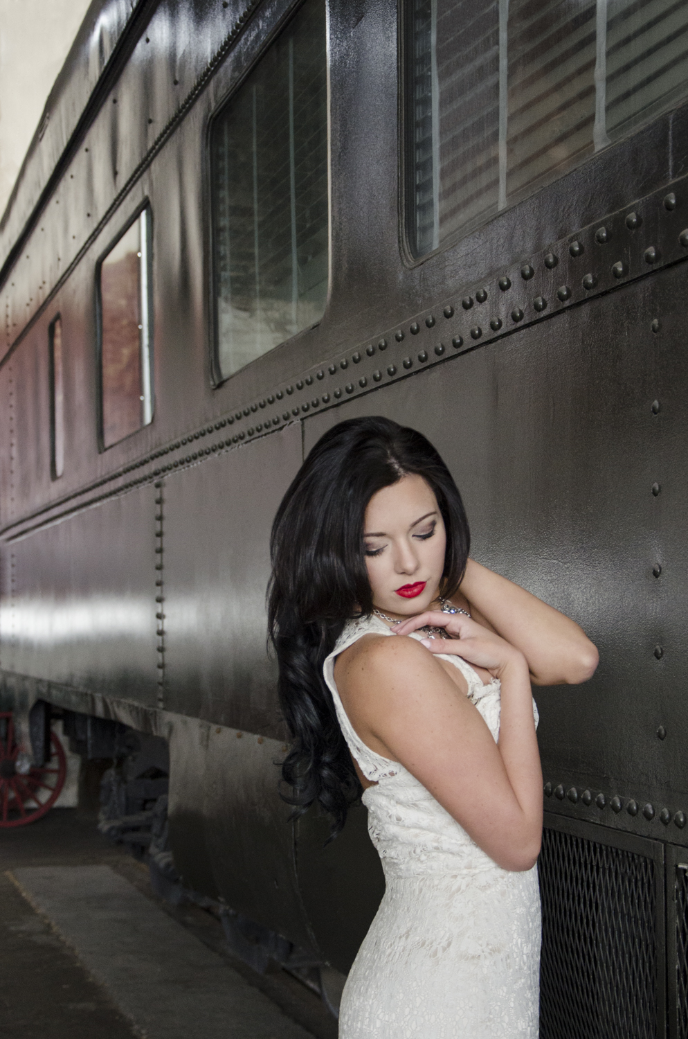 Model: Holly Tyler  Dress: Blush by Hayley Paige #1104 Dress from: Ivory and Beau Location: Georgia Railroad Museum - Savannah, GA